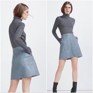 Zara blue vegan leather pocketed A-line skirt S